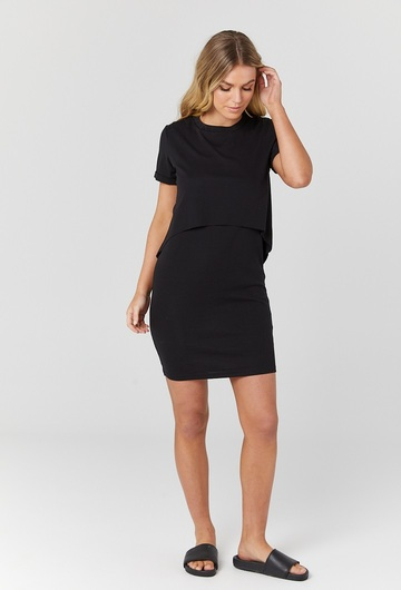 Vienna T Shirt Nursing Dress Blk