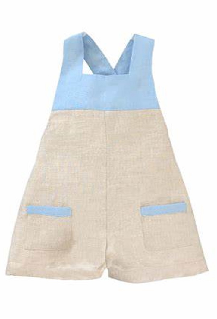 Boys  Linen Playsuit Blue and Oatmeal