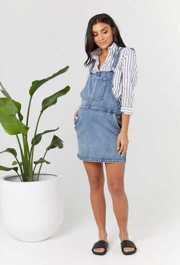 Blue Denim Maternity Pinafore Dress