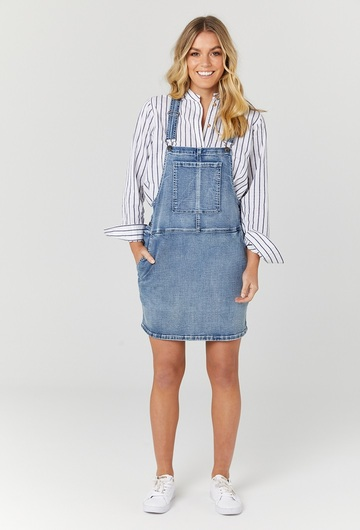 Blue Denim Dunagree Style Dress