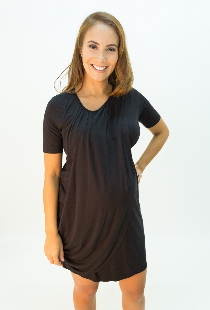 Goddess Drape Short Sleeve Dress