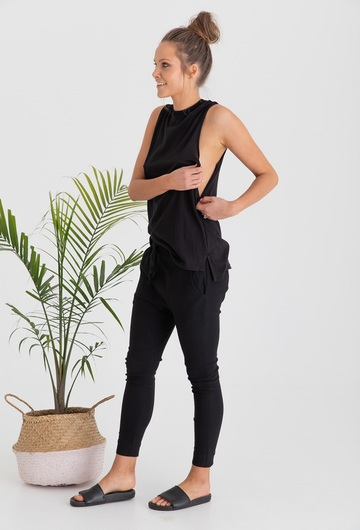 Sicily Breastfeeding Tank Top Black Feed