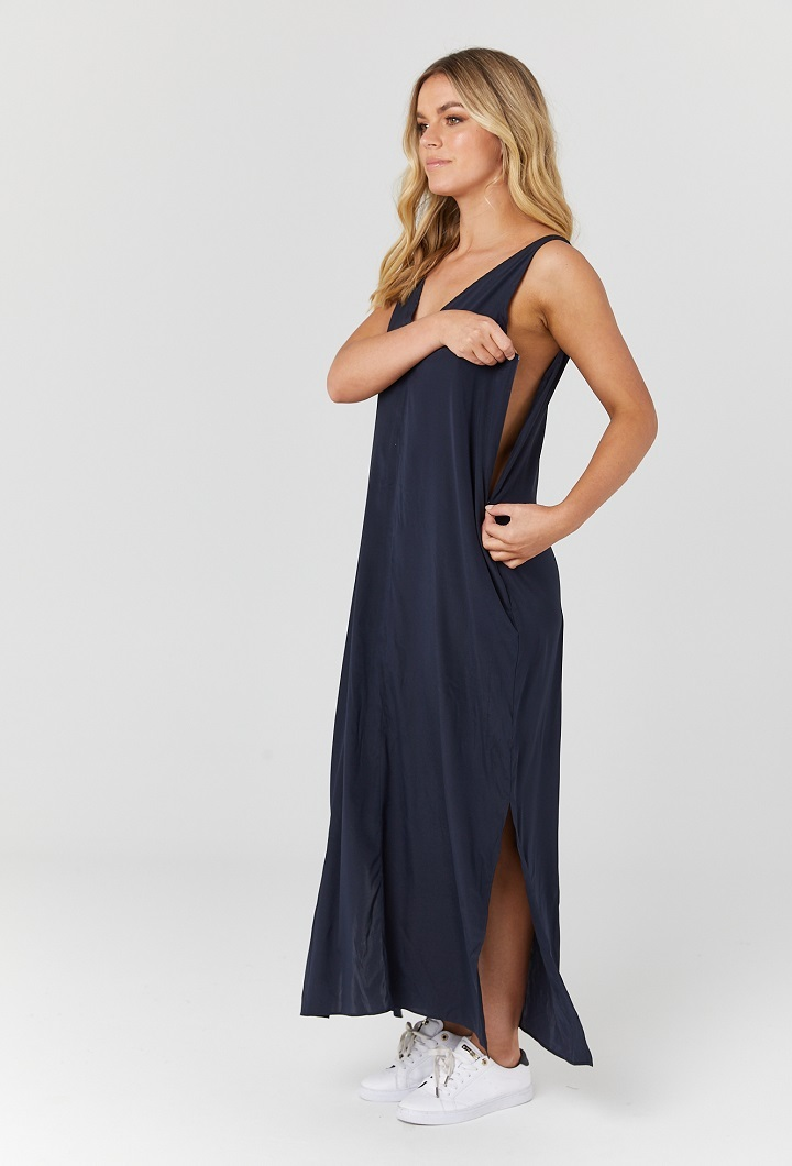 Indie Silk Nursing Dress - Navy