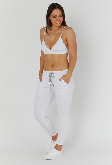Rib Nursing Bralette in White and Black