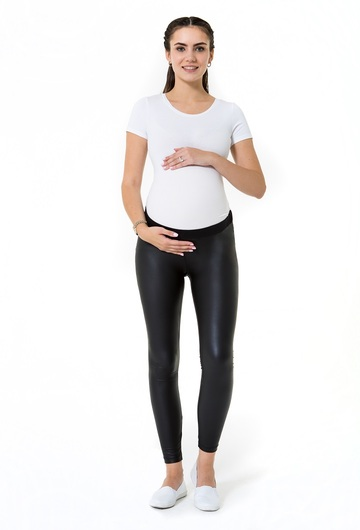 Matt leather Look Low Rise Pregnancy Tights