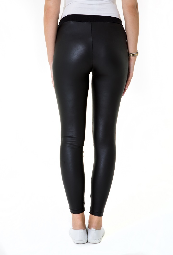 Matt leather Look Low Rise Pregnancy Tights Back