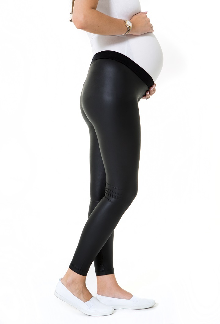 Matt leather Look Low Rise Pregnancy Tights Side