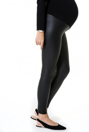 Subtle Leather Look Pregnancy Tights (High Rise)