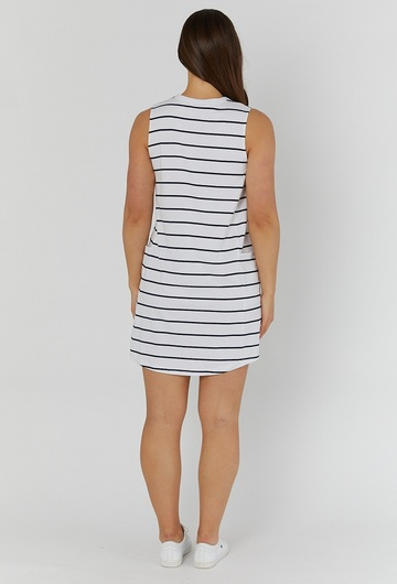 Panel Pregnancy Stripey Dress Back