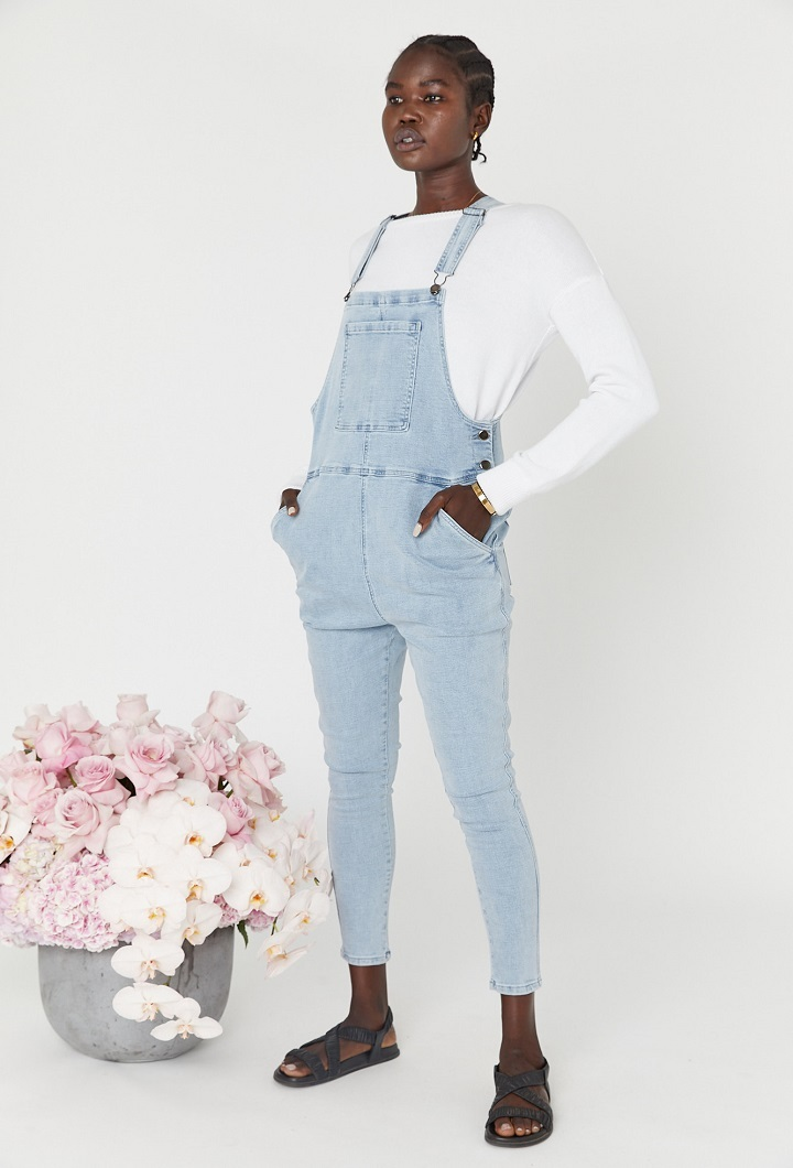 Denim Breastfeeding Dungarees Light Blue